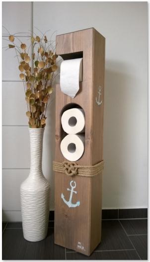 toilettenpapierhalter maritim holz toilettenpapierhalter seemannsknoten und fichten. Black Bedroom Furniture Sets. Home Design Ideas
