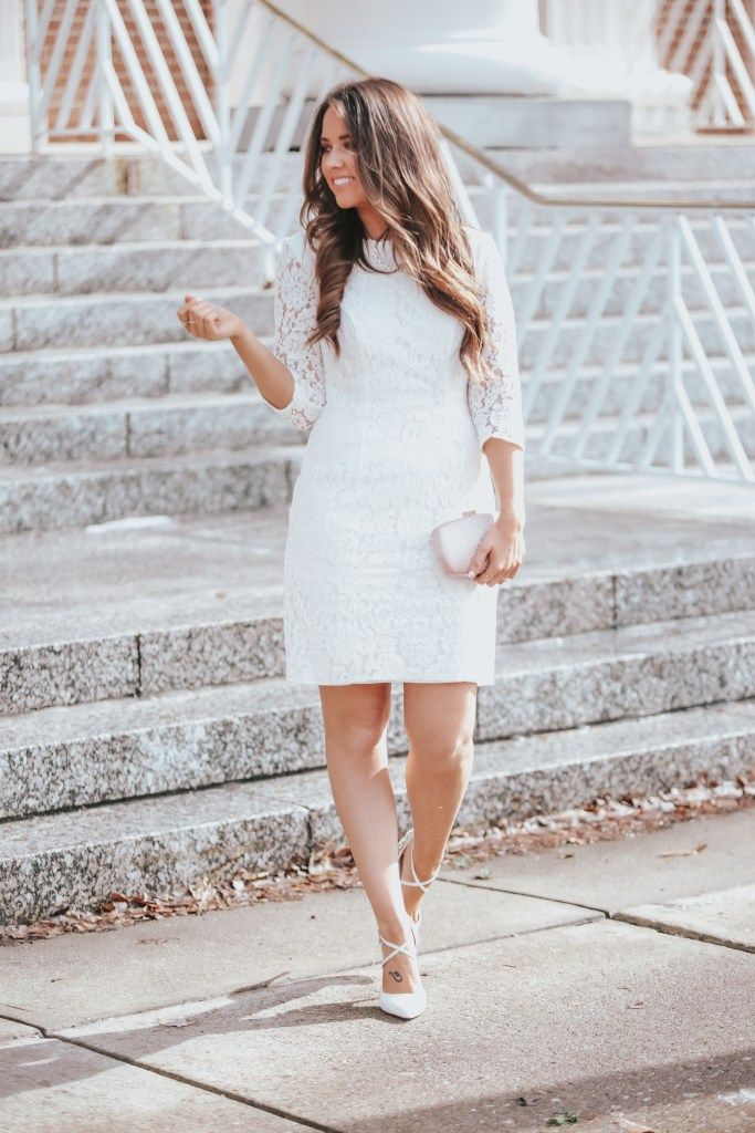 b7c1ffa2c515 Wedding Wednesday: Engagement Party Inspiration – Fashionably Kay |  3/4-Sleeve Illusion Lace Cocktail Dress from David's Bridal… | Little White  Dresses in ...