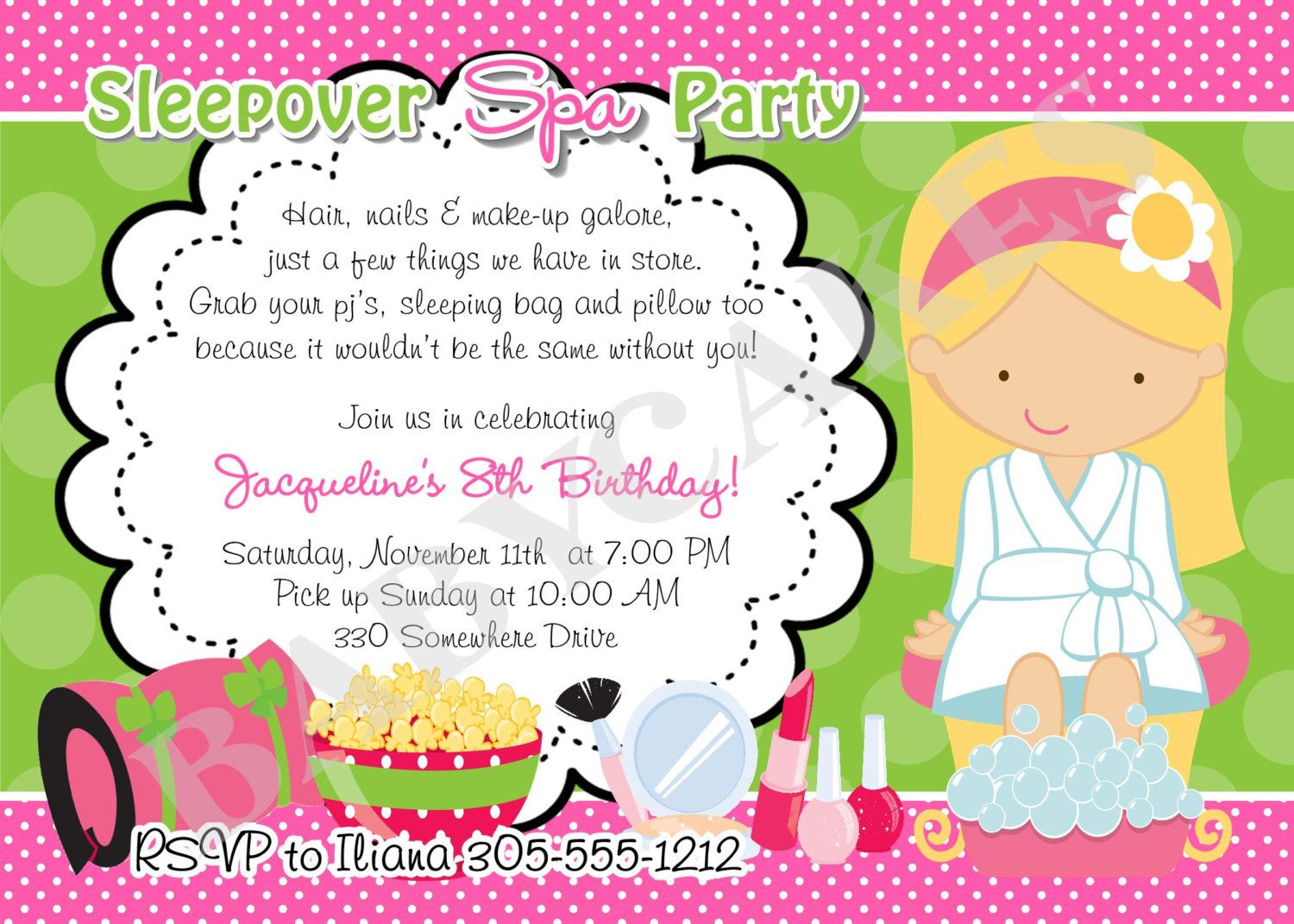 Sleepover Spa Party Invitation Birthday ideas – Spa Slumber Party Invitations