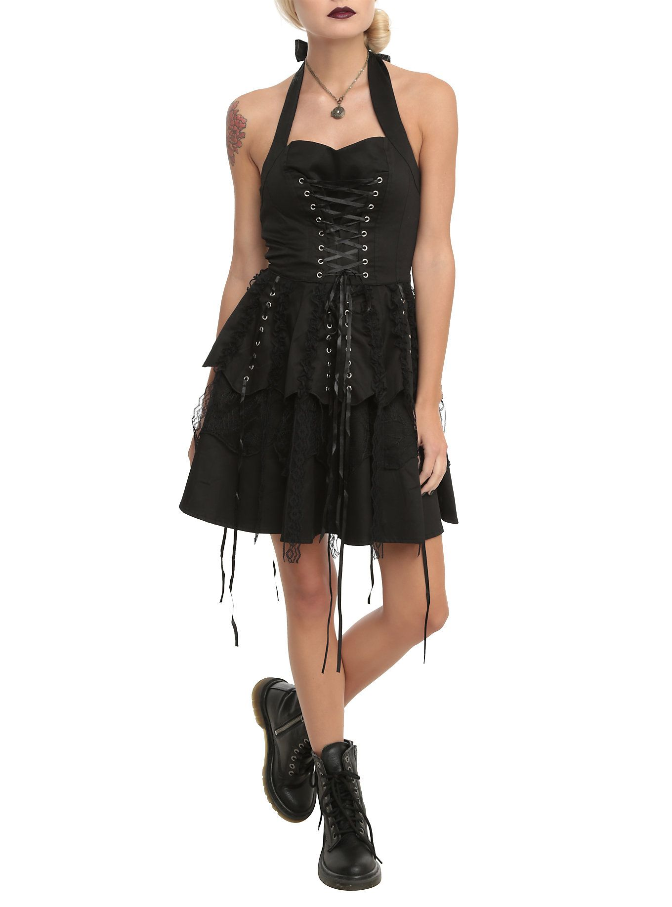 Hearts u roses black corset ruffle mini dress black corset mini