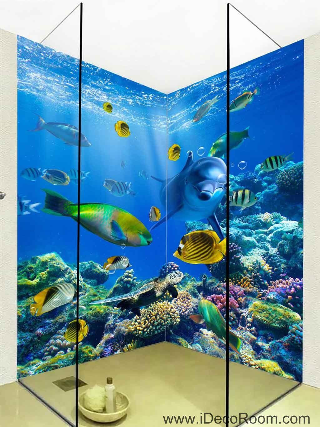 D wallpaper dophin fish coral sea wall murals bathroom decals wall