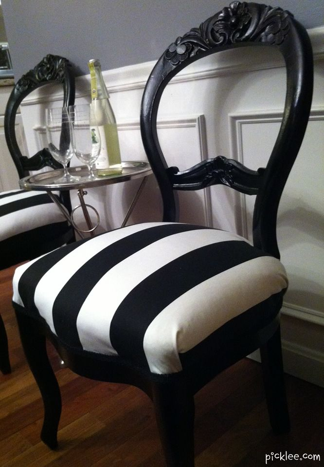Superior Black And White Striped Side Chairs