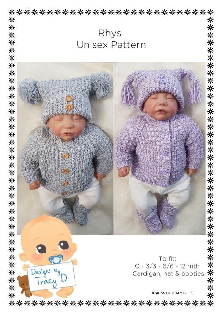 Rhys Unisex Baby Knitting Pattern Download Unisex Baby Knitting
