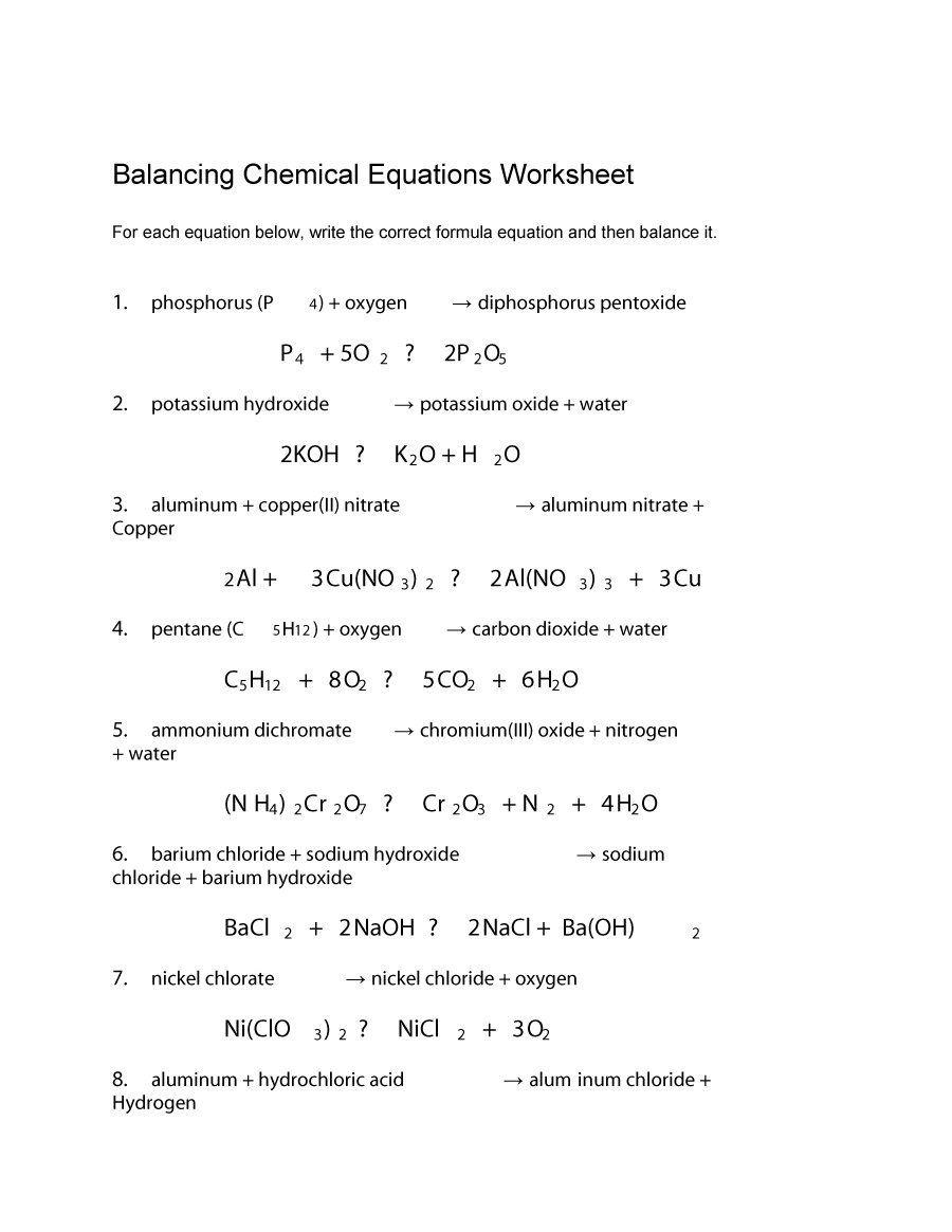 Download Balancing Equations 31 Chemical Equation Equations Balancing Equations