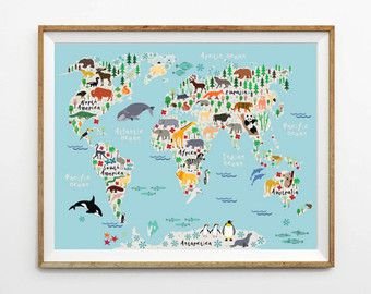 Animal world map print kids world map poster nursery world map animal world map print kids world map poster by printasticstudio gumiabroncs Image collections