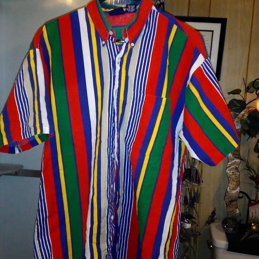 Vintage 90s Vertical Striped Very Colorful T Shirt Size