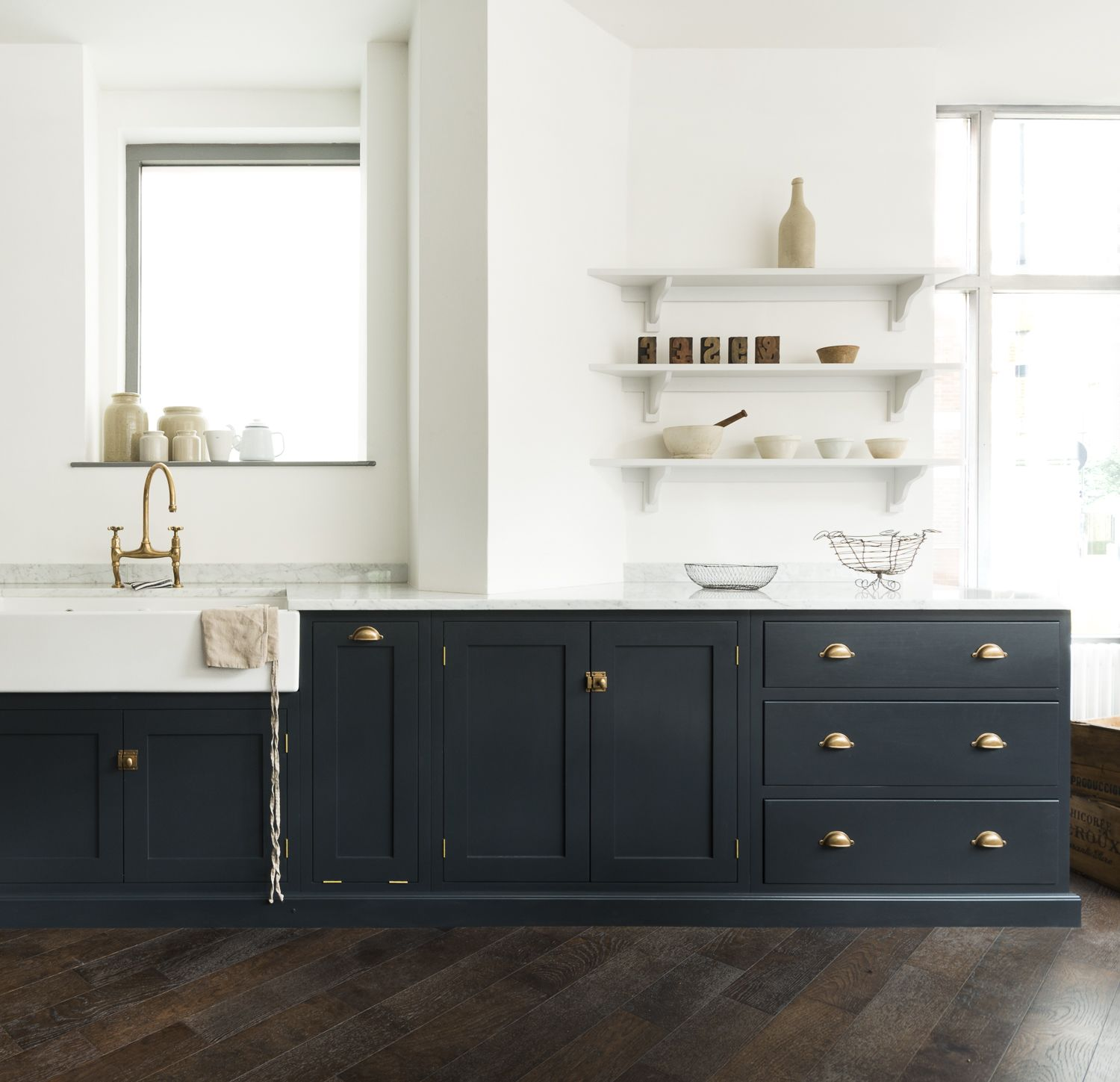 bella brass hardware and pantry blue paint are the perfect