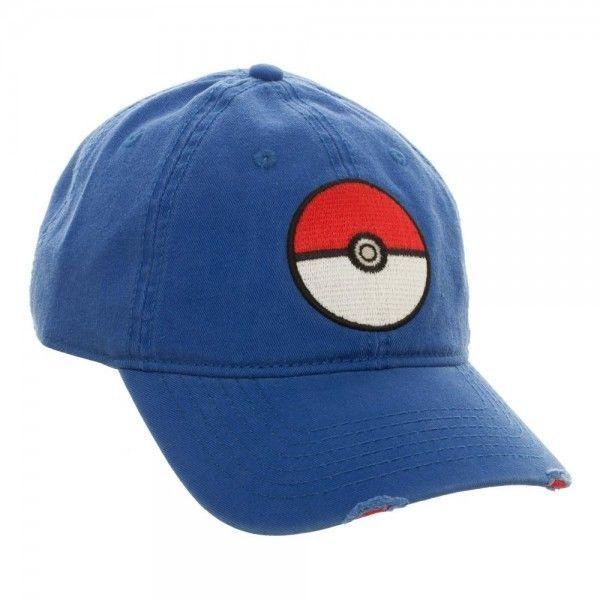 146cc51341d Blue Pokeball Distressed Bill Dad Baseball Hat Cap POKEMON GO Bioworld  Nintendo  Bioworld  BaseballCapDistressedBill