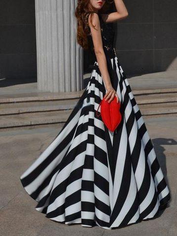 Choies Limited Edition Stripe High Waist Maxi Dress | FASHiON ...