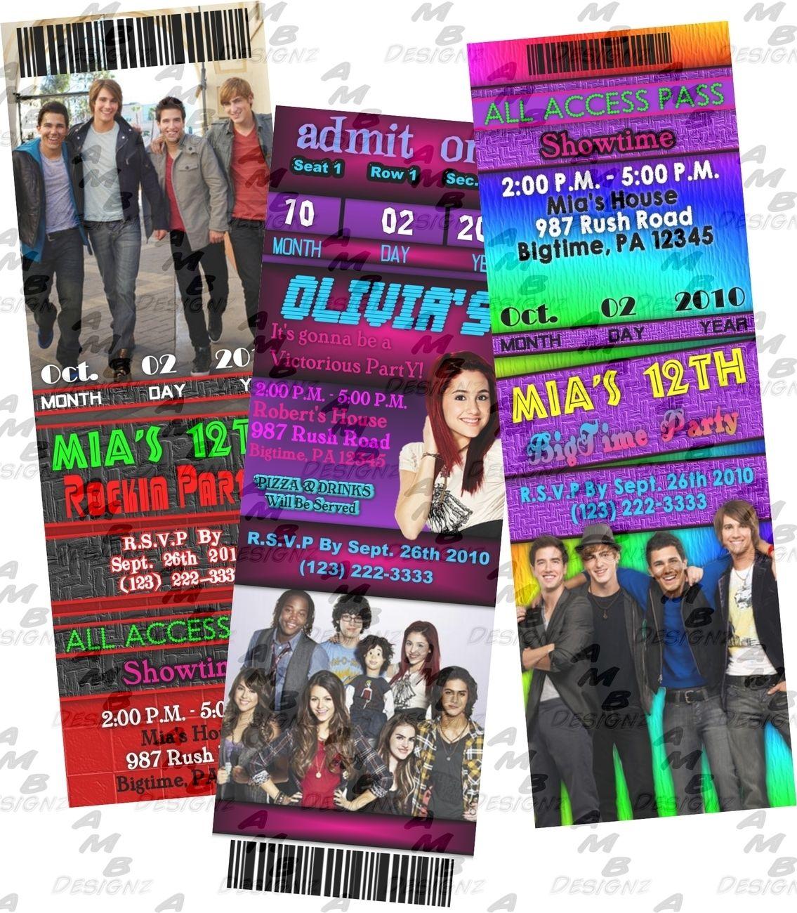 Custom made Big Time Rush Birthday party ticket style invitations ...