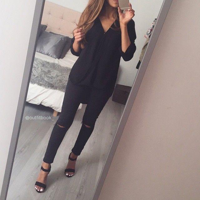 All Black, Mode Skönhet, Vad Ska Man Ha På Sig, Svarta Jeans,