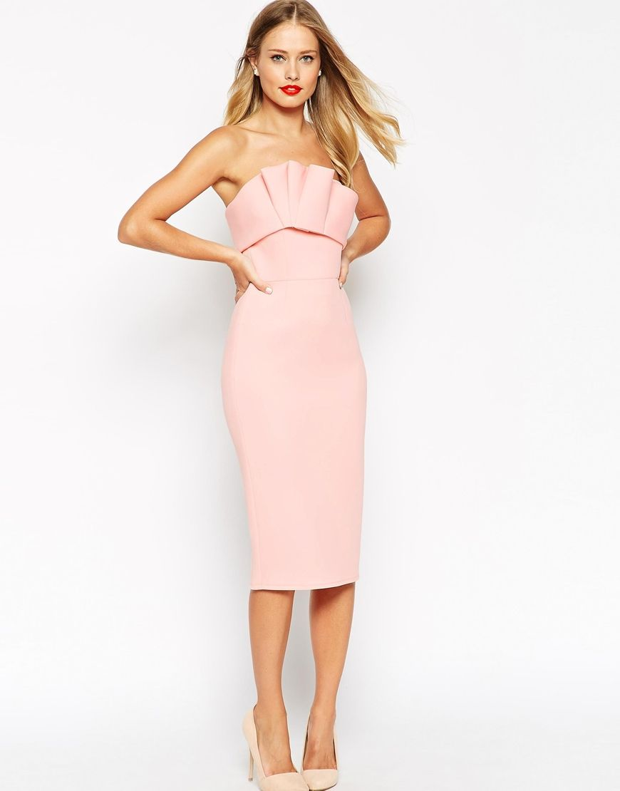 ASOS Bonded Scuba Ruffle Bandeau Dress | wedding guest dresses ...