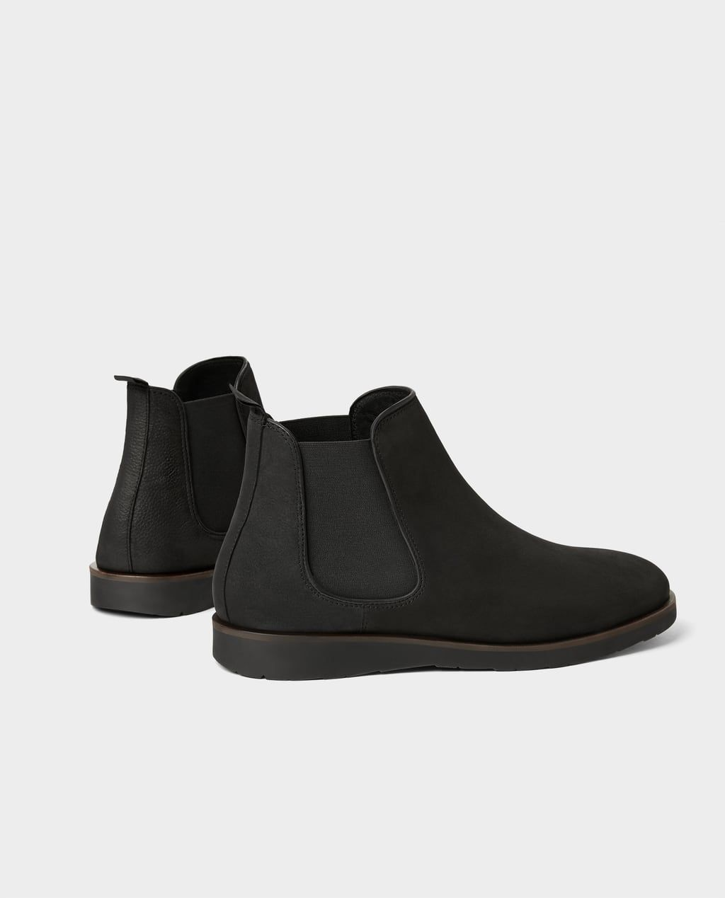BLACK LEATHER SPORTY ANKLE BOOTS