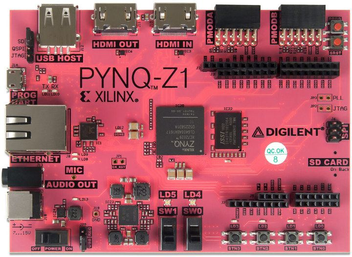 Digilent PYNQ-Z1 is a Xilinx Zynq-7020 Arm Cortex-A9 & FPGA board