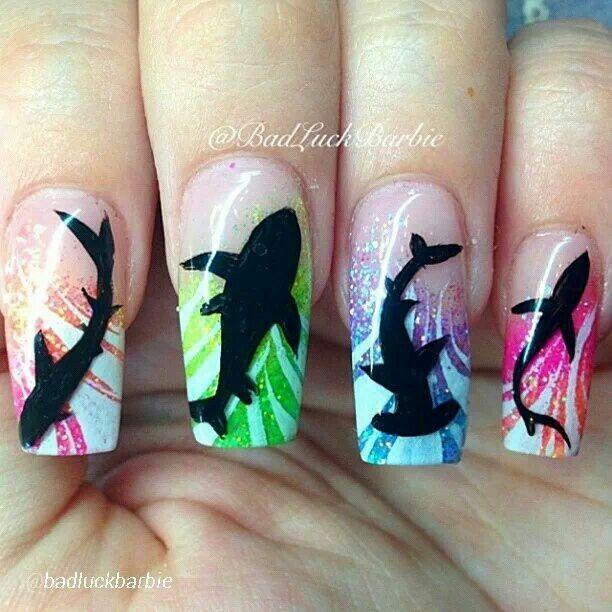 Shark week nails | manicured | Pinterest | Uñas verano, Diseños de ...