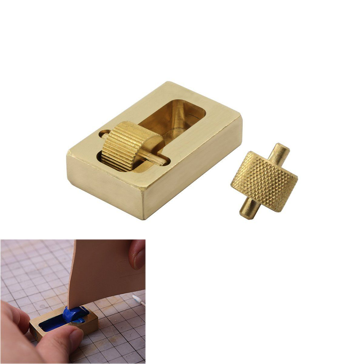 Ampseven Leather Craft Edge Oil Box With Two Rollers Brass Leather