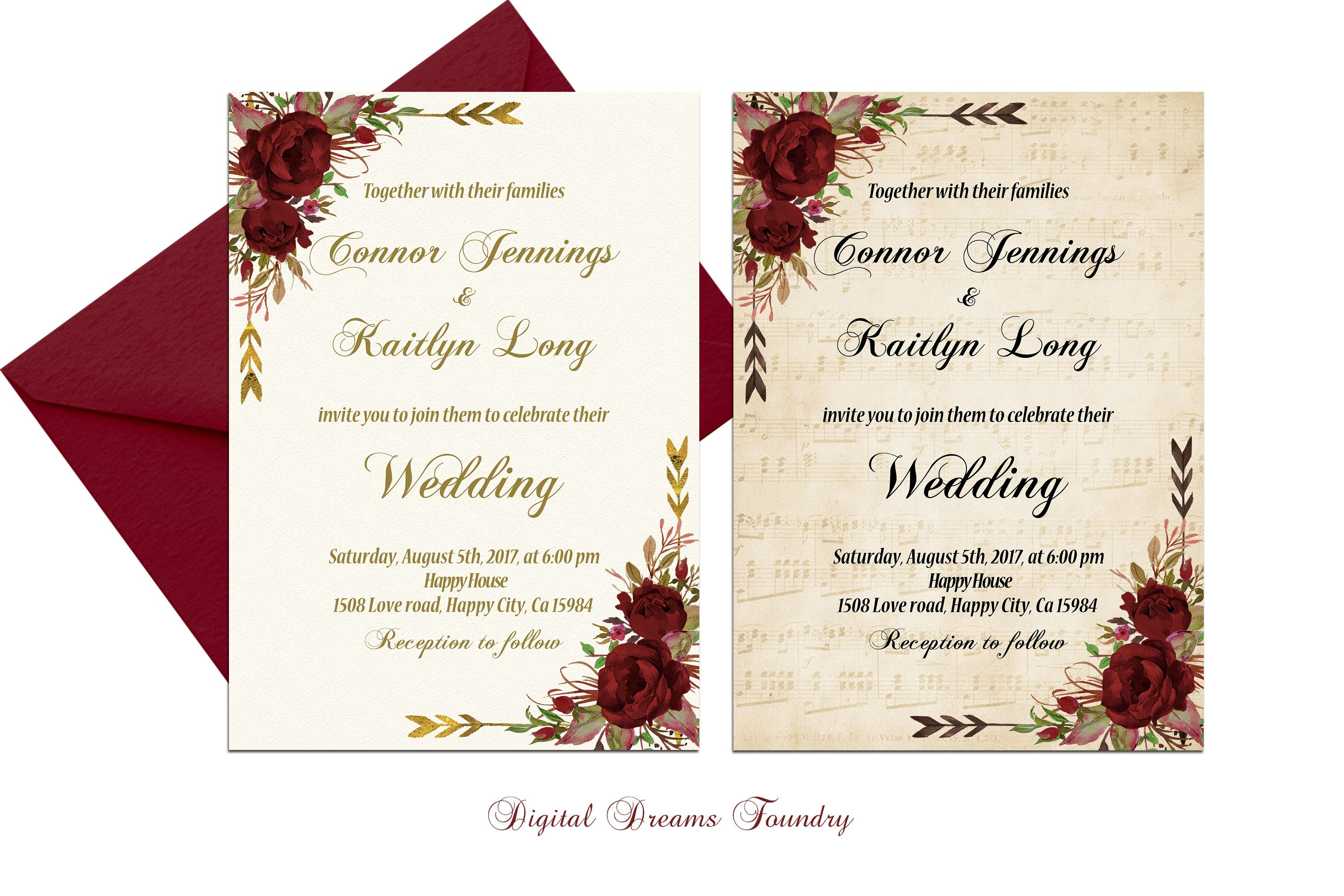 Rustic Fall Wedding Invitation Burgundy Wedding Invitation Printable ...