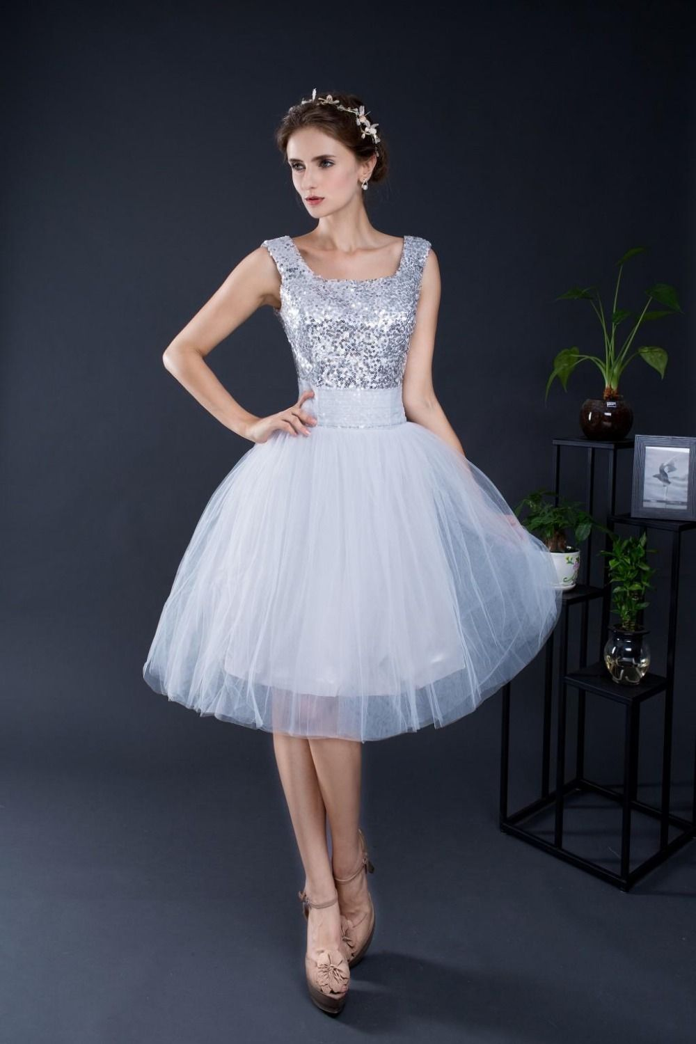 Click to buy ucuc real picture cheap stcok silver ball gown short