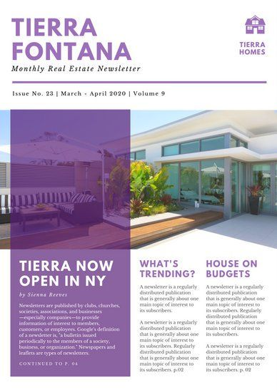 Violet And White Simple Real Estate Newsletter Newsletter - Simple newsletter templates