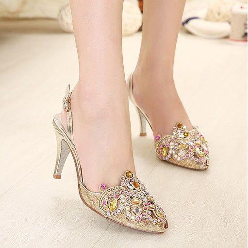 Rhinestone Buckle Woman High Stiletto Heel Pumps Platform Gorgeous Ladies Shoes