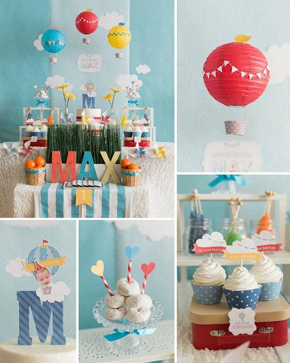 DIGITAL FILES Hot Air Balloon Birthday, Hot Air Balloon Party Decoration, Hot Air Balloon Party Decor, Your Custom Photo Party Kit
