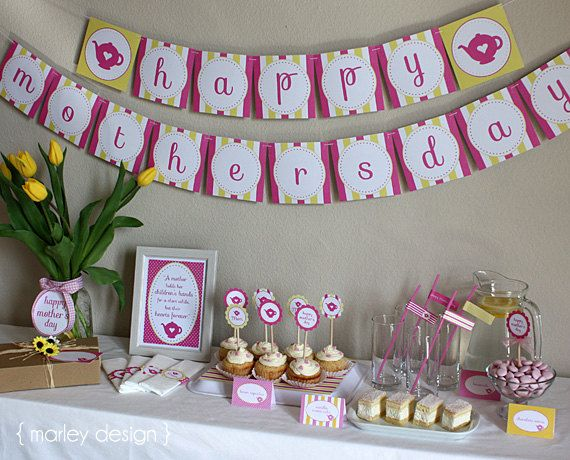 Printable Mothers Day Tea Party Brunch Printables Instant Download