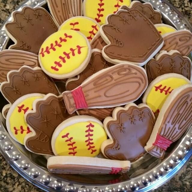 Softball Cookies With Bat And Glove By Bake-A-Latte Www
