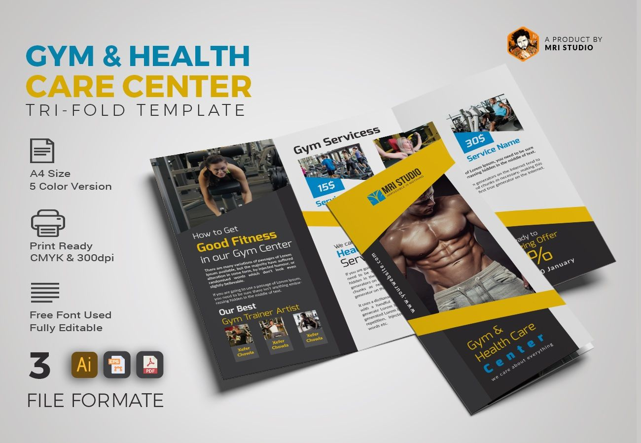 gym trifold brochure include a4 size 210 297 mm with 0 25 bleed 5