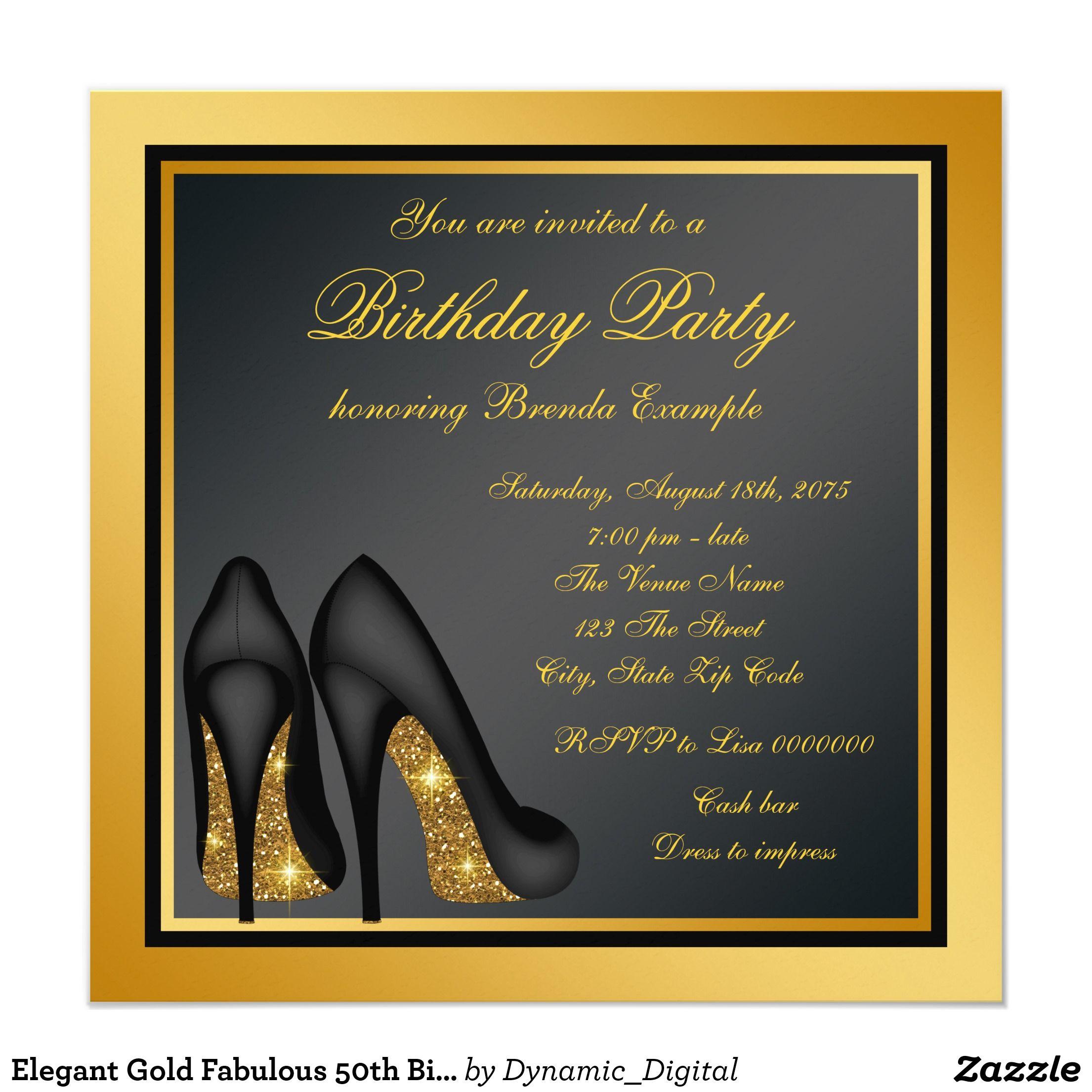 Elegant Gold Fabulous 50th Birthday Party Card | 50 birthday parties ...