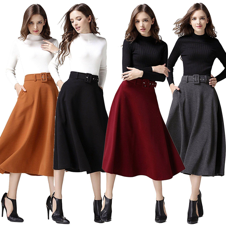 Autumn Winter Women Ball Gown Swing Parachute Middy Long Skirt W  Waistband bada413b20