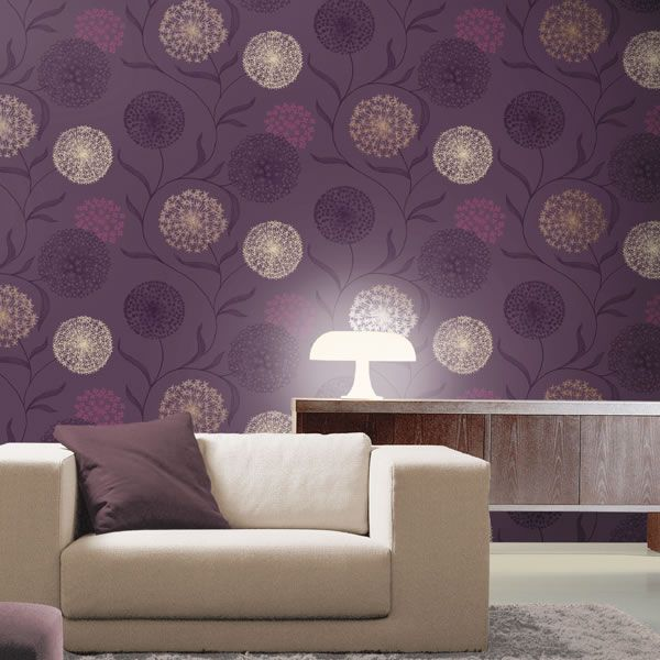Home decor k2 starburst wallpaper plum 10440 floral for Purple feature wallpaper living room