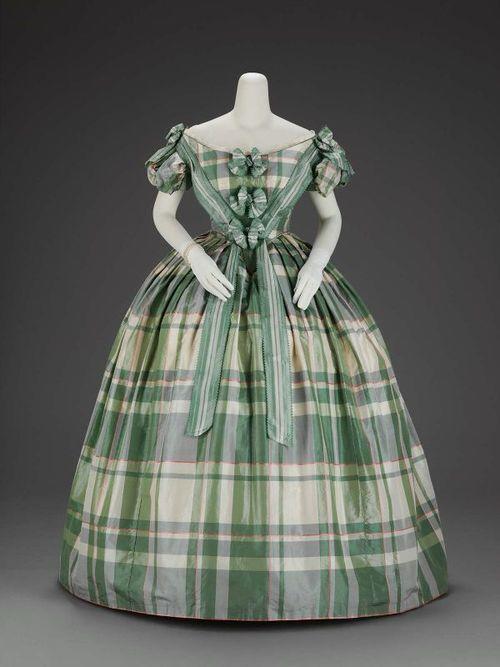 Circa 1860 Green Plaid Ball Gown.