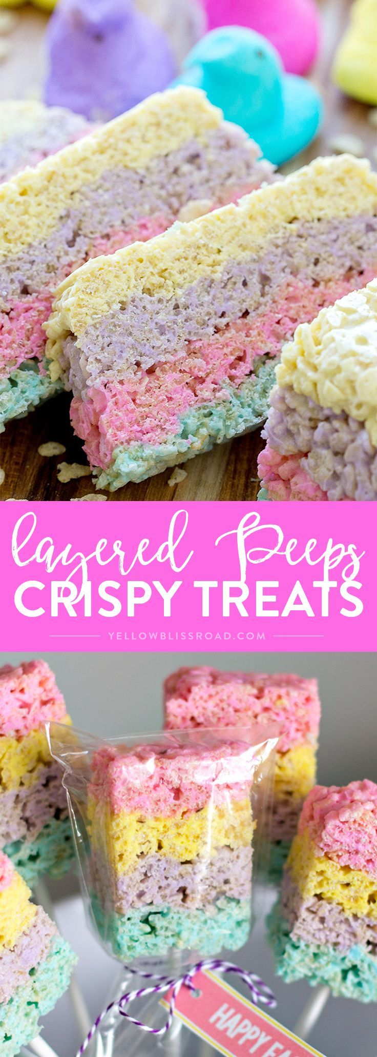 Rice Krispie Treats with a twist - they are made with marshmallow Peeps and layered for a beautiful, colorful Easter treat! An Easter dessert that is fun, easy and delicious. #RiceKrispies #EasterDessert #easter #eastertreats