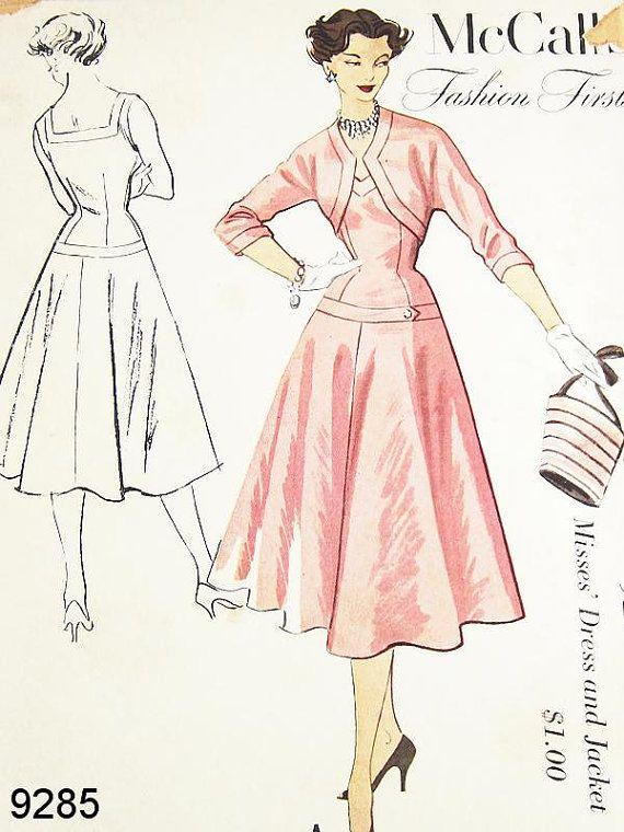 Vintage 1950s Dress Pattern - McCalls 9285 - Misses\' Dropped Waist ...
