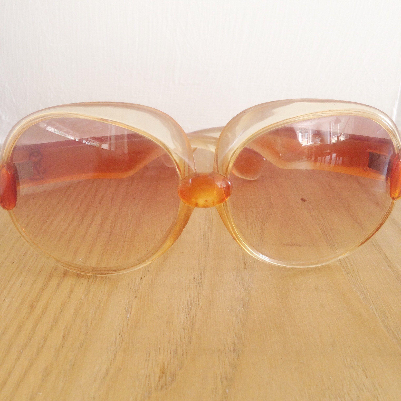d53f4821052 Vintage Yves Saint Laurent YSL 545 Translucent Orange 1970 France Sunglasses