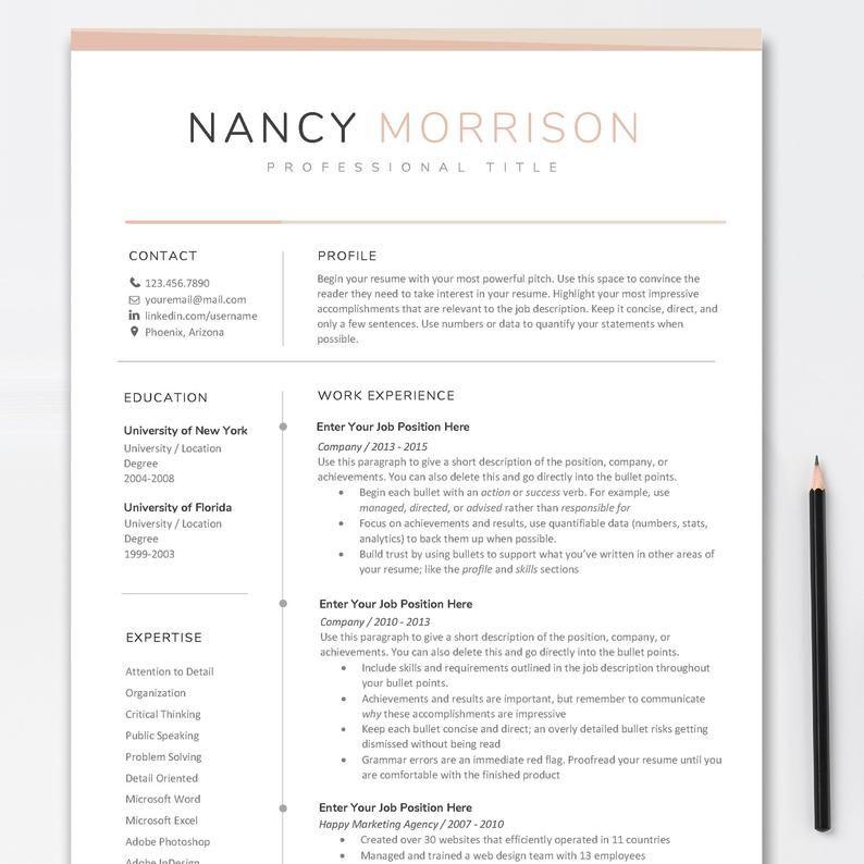 Resume Template Resume Template Word Modern Resume Etsy