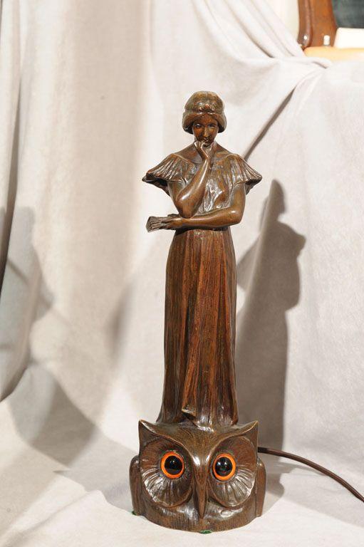 Art Nouveau Bronze Figura de Menina UMA Imagem da coruja / Lamp No topo 2