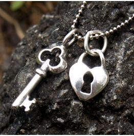 Heart Lock Key Charm Necklace