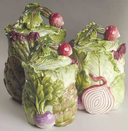 Fitz Vegetable Garden 3 Piece Canister Set I Need This