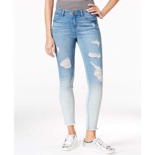 Tinseltown Juniors' Ripped Cropped Skinny Jeans ($30) ❤ liked on Polyvore featuring jeans, chloe ombre, distressed skinny jeans, white denim skinny jeans, distressed jeans, white skinny leg jeans and ripped jeans