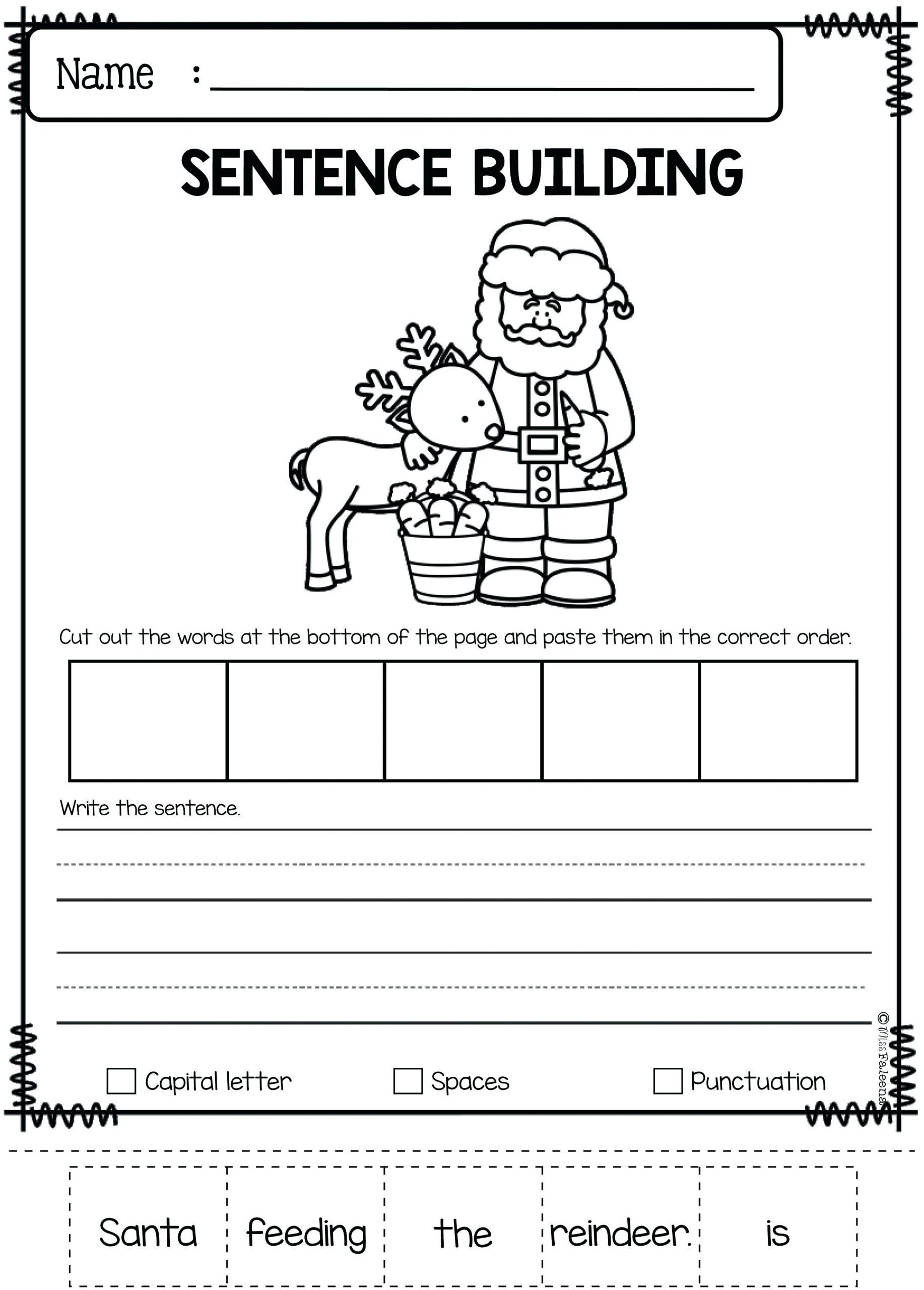 Kindergarten Writing Sentences Worksheets In