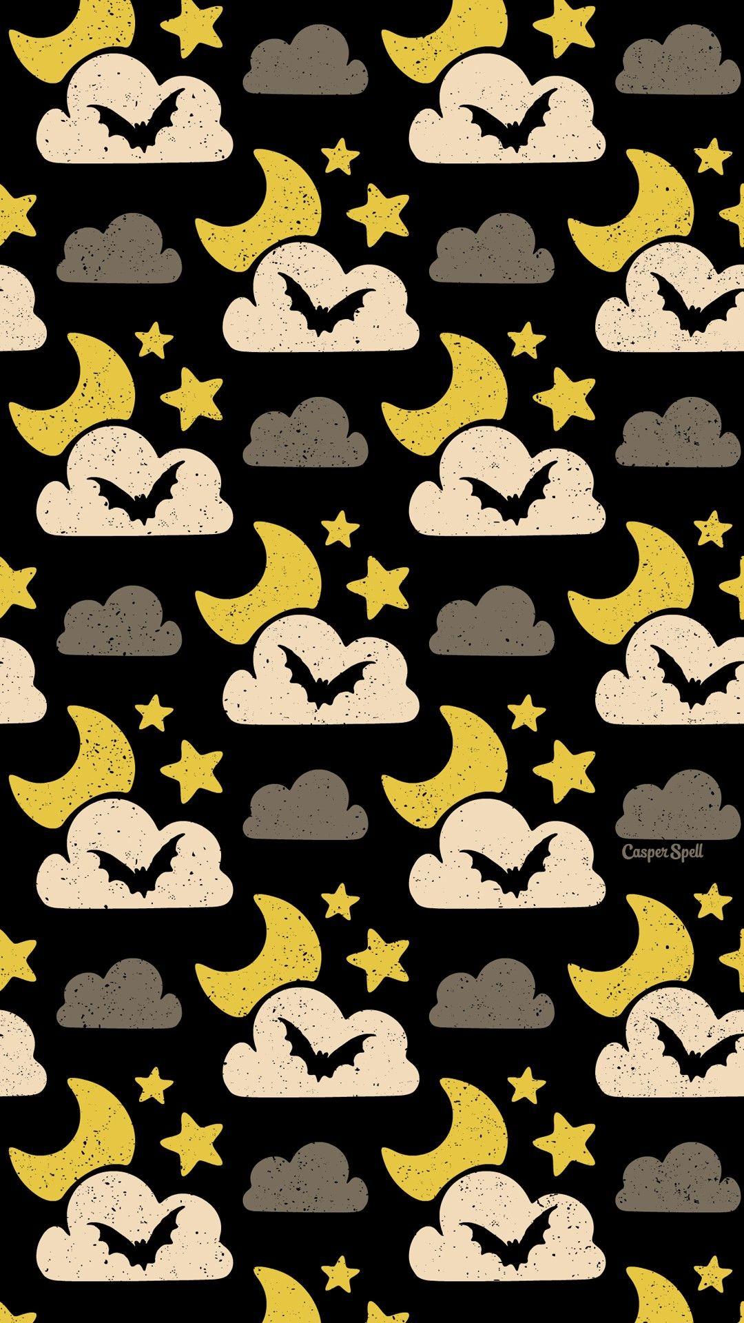 Halloween Nocturnal Bat Night Repeat Pattern Wallpaper Screensaver Cute Creepy Spooky Macabre Art Desig Halloween Wallpaper Pretty Wallpapers Pattern Wallpaper
