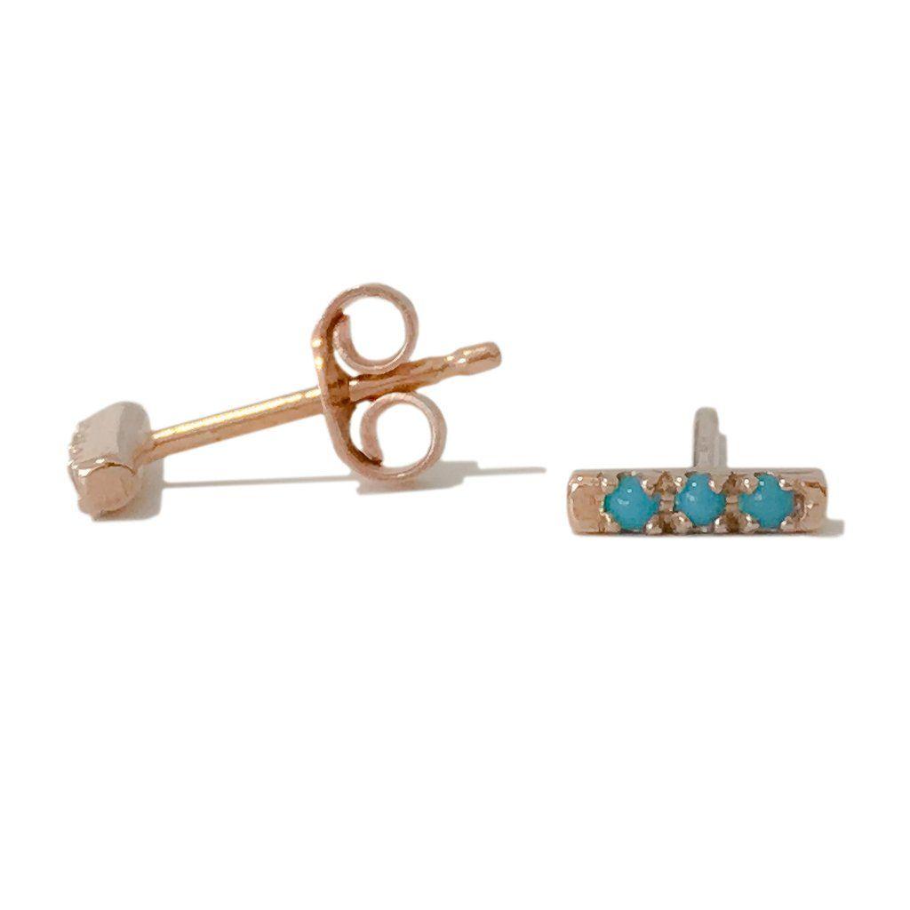 14k Gold Xsmall Pavé Turquoise Bar Stud Earrings