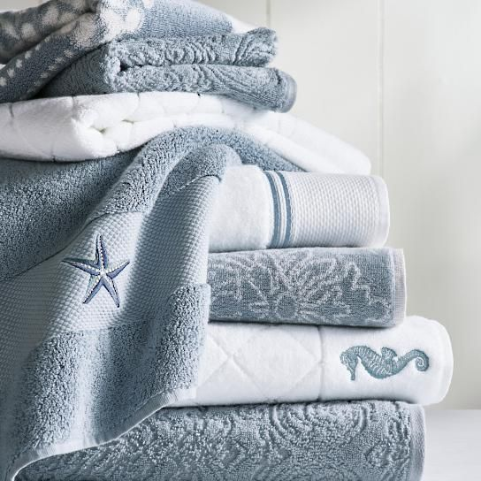 Nautical Guest Towels: Coastal Icon Resort Quilted Bath Towel