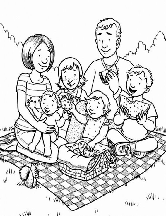 Family Having A Picnic Coloring Pages Family Coloring Pages Family Coloring Lds Coloring Pages