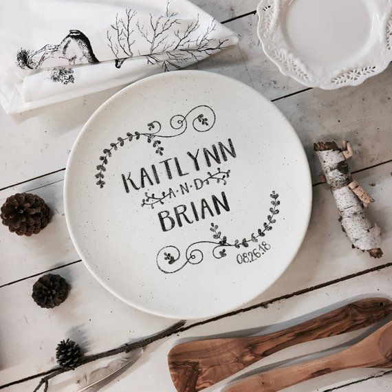 Pottery Wedding Anniversary Gifts: Name Wedding Coupe, Personalized Pottery, Ceramic Wedding