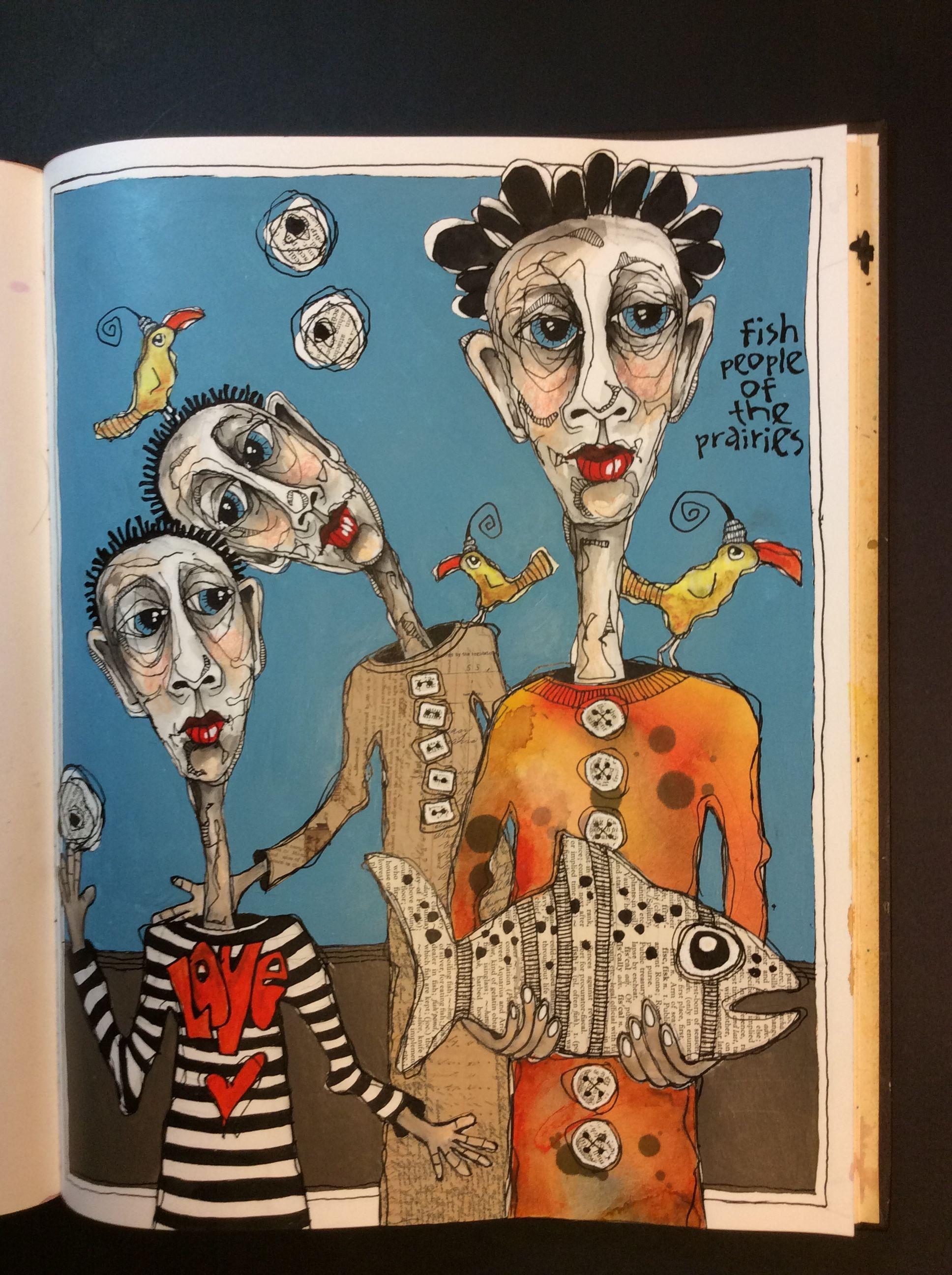 Felix murillo lleno de colores painting acrylic artwork fish art - Deb Weiers Fish People Of The Prairies Sold Funky Artbeautiful Paintingsmoleskineart