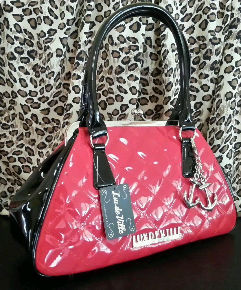 7653024121 LUX DE VILLE BON VOYAGE Red Handbag Purse Pinup Rockabilly Mod Retro  Bowling Bag #LuxDeVille