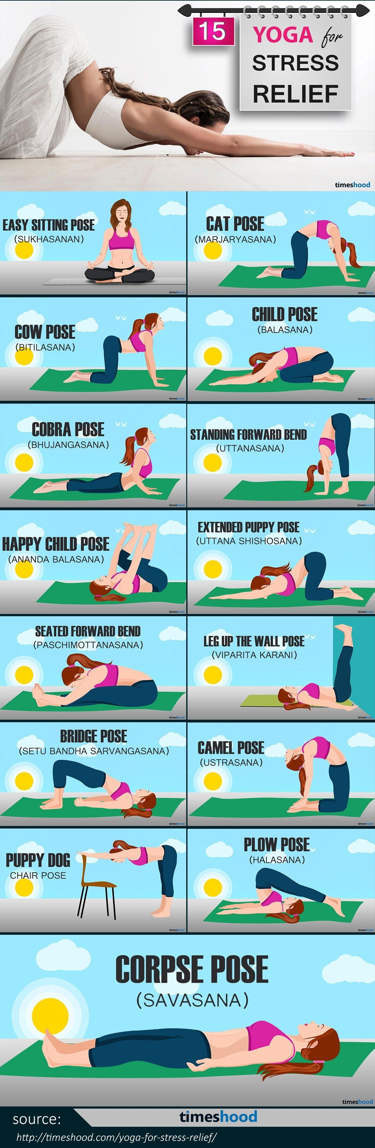 Yoga for Stress Relief: 15 Easy To Do Yoga Pose for Instant Relaxation #fitnessexercisesathome