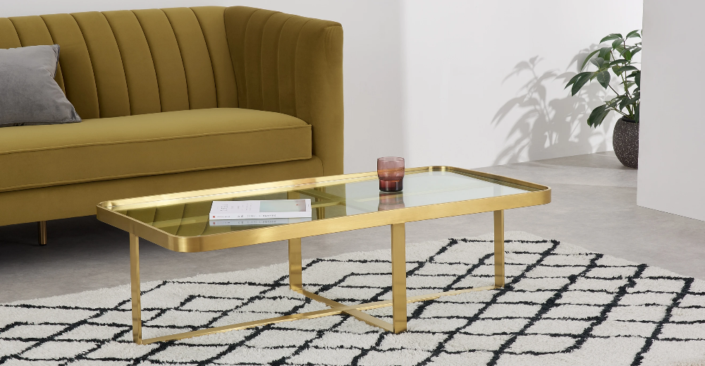 Aula Table Basse Rectangulaire Laiton Brosse Et Verre Made Com In 2020 Coffee Table Living Room Coffee Table Rectangular Coffee Table